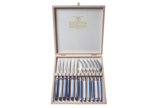 Laguiole Laguiole 6 Steak Knives 2,5 mm & 6 Forks Nordic Mix in Box