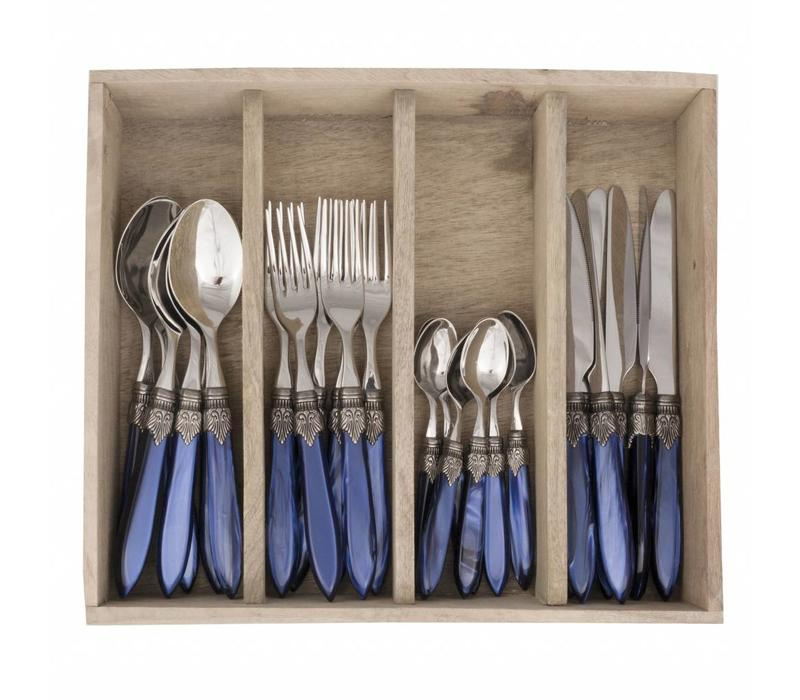 Murano 24 Piece Cutlery Set Blue
