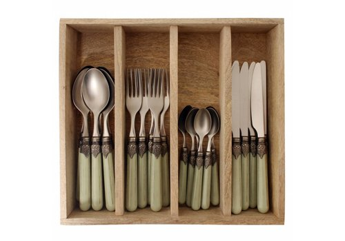Vintage Vintage Grass Cutlery Set 24-delig in Wooden Tray