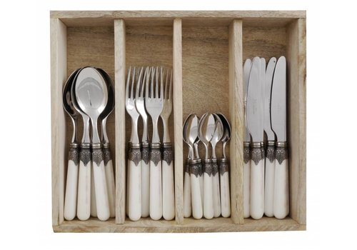 Vintage Vintage 24 Pcs Cutlery Set in Wooden Tray