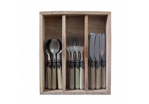 Vintage Vintage Breakfast Cutlery (18-pieces) Pistache in Wooden Tray