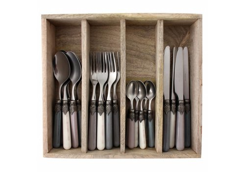 Vintage Vintage 24-piece Dinner Cutlery Set 'Storm Mix' in Cutlery Tray, Mixed Colours Ivory White, Light Grey and Dark Grey