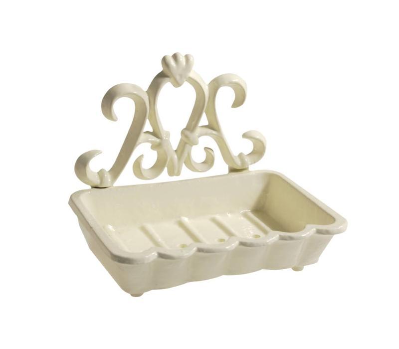 Large Soap Dish 15x11xH12 cm Aluminium, Ivory