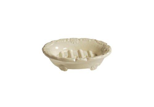 Au Bain de Marie Au Bain de Marie zeepbak mini ovaal 10x8xH3 cm, crème,  aluminium