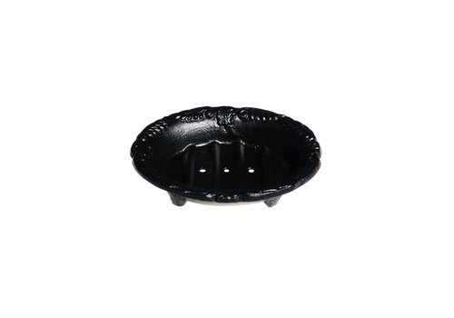 Au Bain de Marie Au Bain de Marie small oval soap dish 10x8xH3 cm, black, aluminum