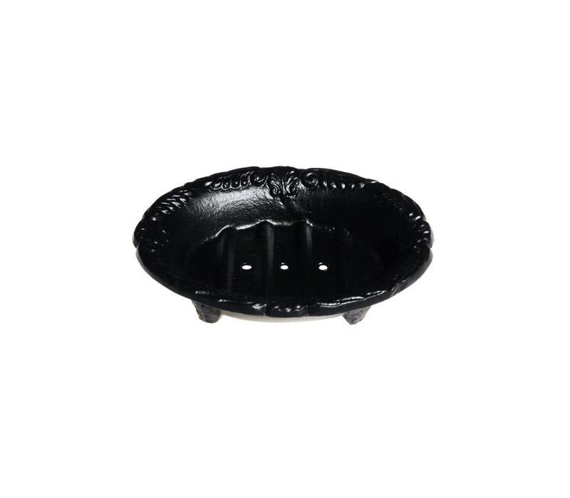 Au Bain de Marie small oval soap dish 10x8xH3 cm, black, aluminum