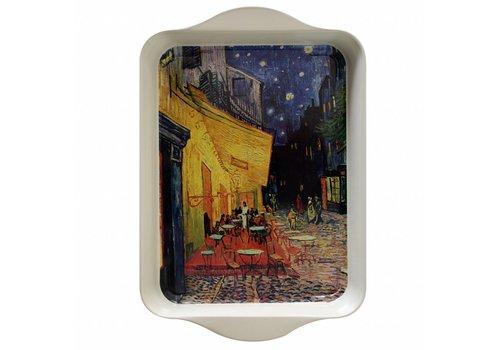 French Classics Mini Dienblad van Gogh Terrasse 14x21 cm Metaal