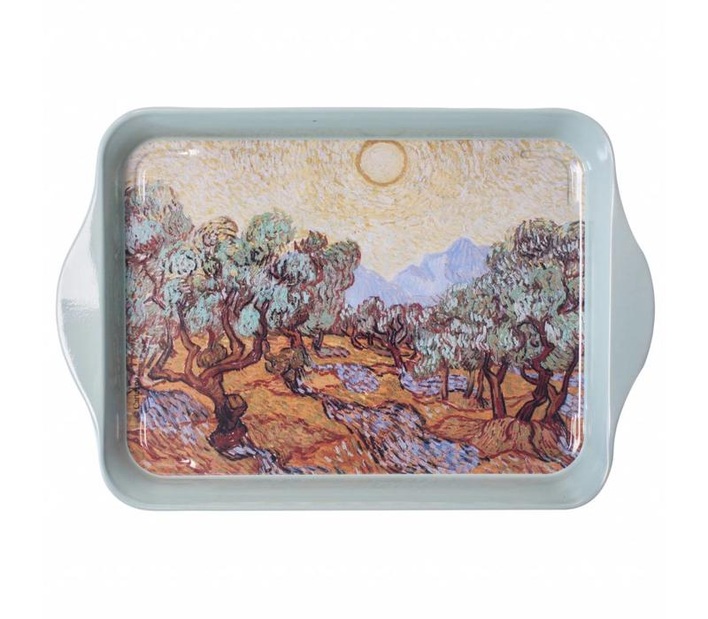 "French Classics Small Serving Tray Metal 14x21 cm ""Van Gogh"" Olive Trees"