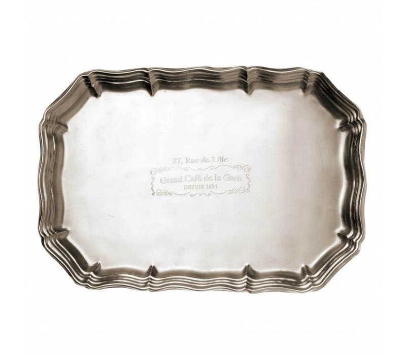 Grand Café de la Gare Large Tray 35x24 cm, matt silver finish