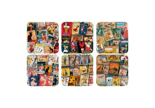 "French Classics French Classics Set of 6 Coasters 10x10 cm ""Affiches"" Coated Cork"