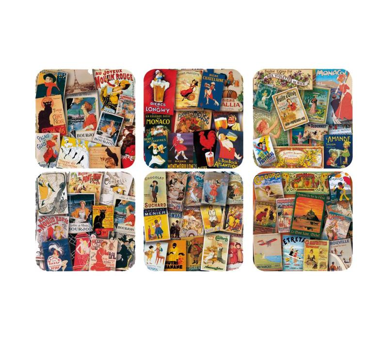 """French Classics Set of 6 Coasters 10x10 cm """"Affiches"""" Coated Cork"""