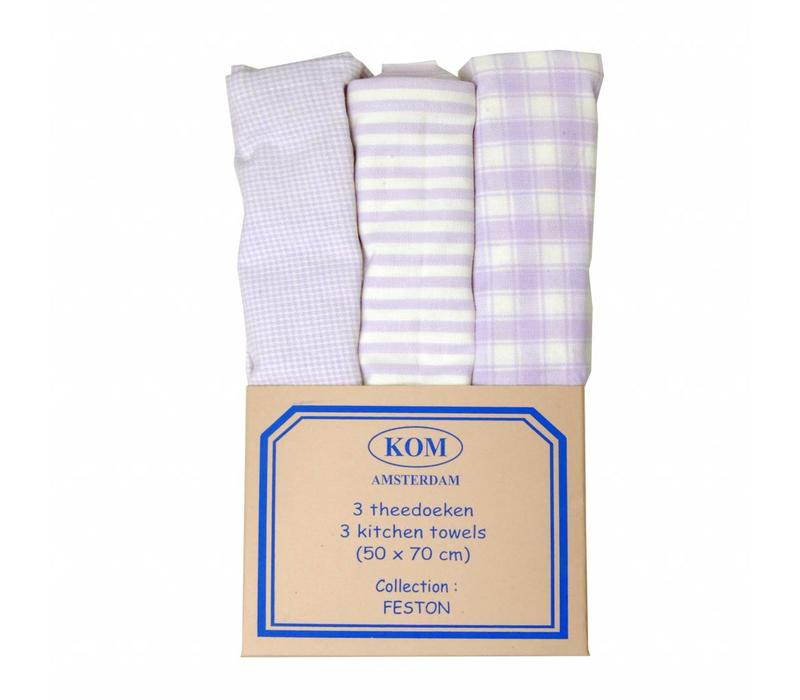 3 Kitchen Towels, Lilac 50x70 cm
