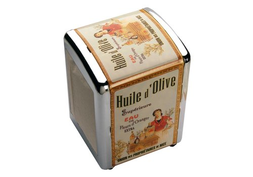 French Classics Napkin Dispenser Huile d'olive with Paper Napkins