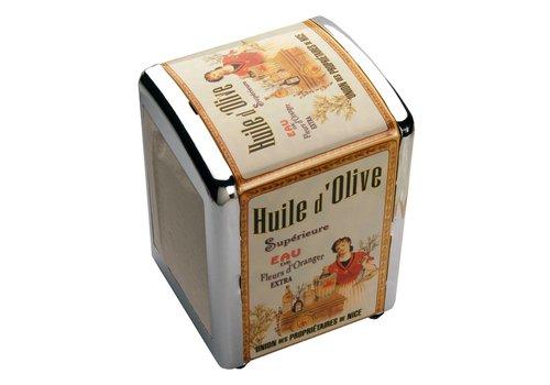 French Classics Serviettendisplay mit Servietten Huile d'olive Metall