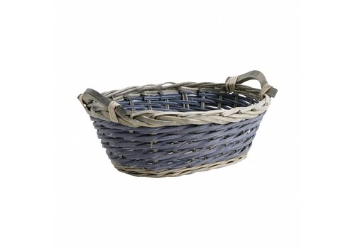 French Kitchen Collection Basket Oval 40 cm Cane Blue/grey
