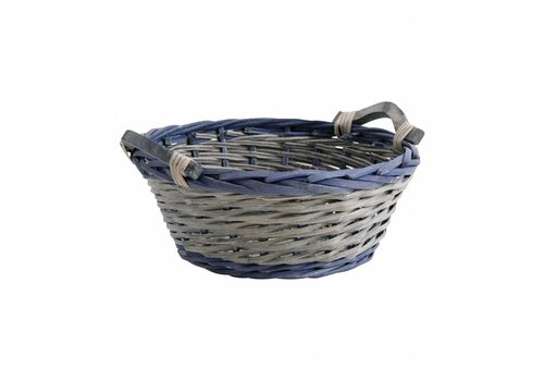 French Kitchen Collection Basket Round ø33 cm Cane Blue/grey