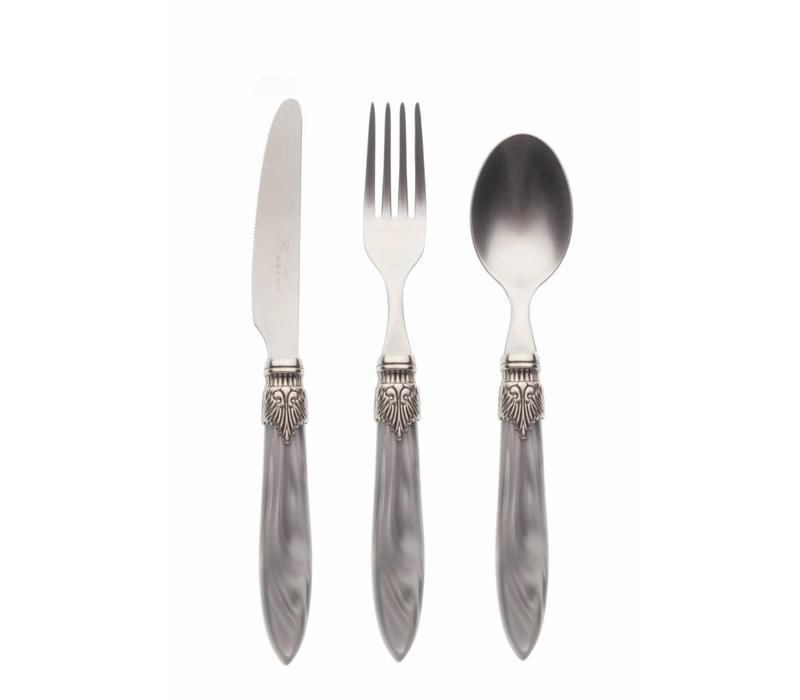 Breakfast Cutlery Set (3-piece) Murano, Light Grey