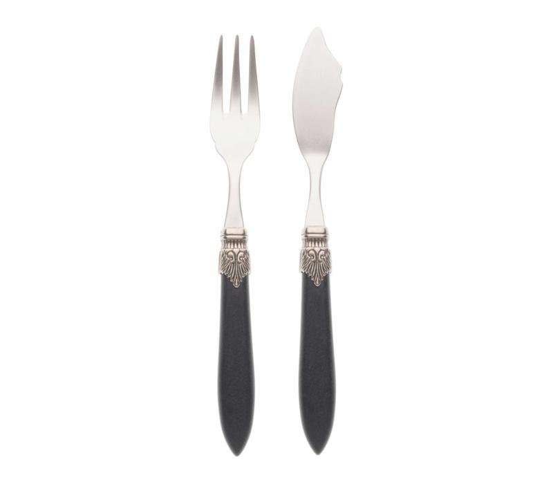 Fish Cutlery Set (2-piece) Murano Matt Black