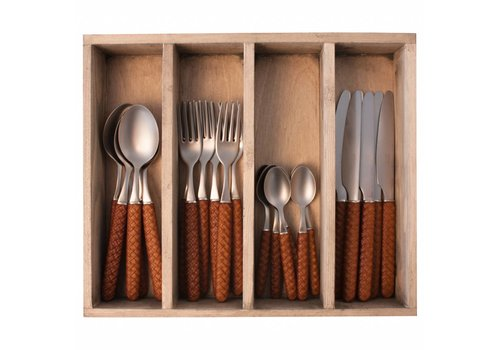 Kom Amsterdam Wood Style 24-piece Diner Cutlery Set in Cutlery Tray 'Bali' Brown