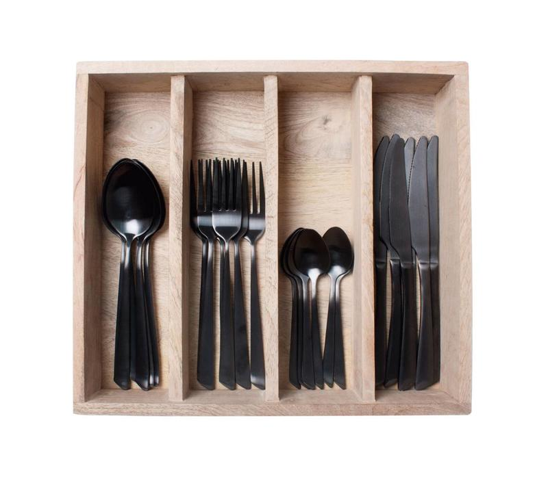 Dinnerset 24 Pieces Blacksmith in Tray, Black