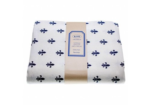 "Kom Amsterdam Kom Amsterdam Tablecloth ""Fleur de Lys"" 150x250 cm, Blue"