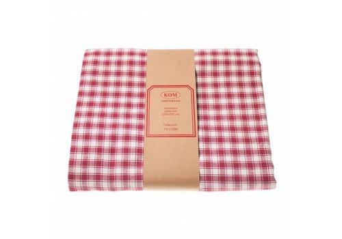 """Kom Amsterdam Kom Amsterdam Tablecloth """"Check"""" 150x250 cm, Red"""