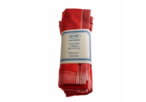 Kom Amsterdam Set of 4 Napkins 40x40 cm Feston, Red