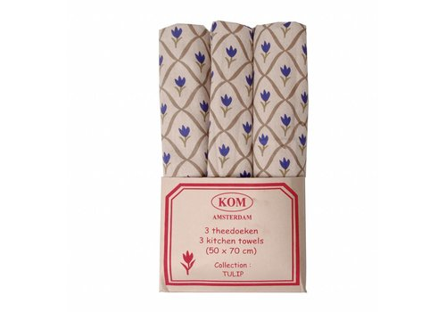 Kom Amsterdam Set 3 Tea Towels Tulip, Blue