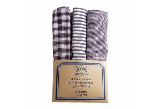 Kom Amsterdam Set of 3 Dish Towels 50x70 cm Feston, Blue