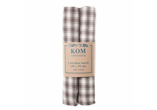 Kom Amsterdam Campagne Set 2 Dish Towels 50x70 cm Check, Grey