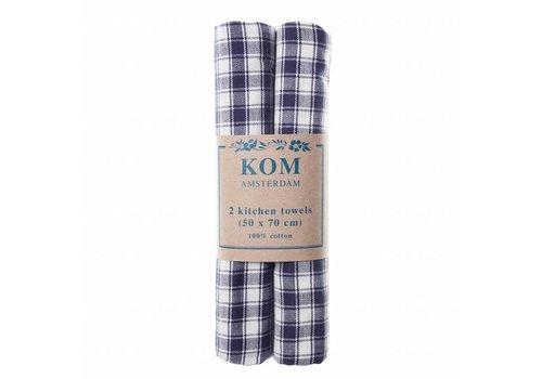 Kom Amsterdam Campagne Set 2 Dish Towels 50x70 cm Check, Blue