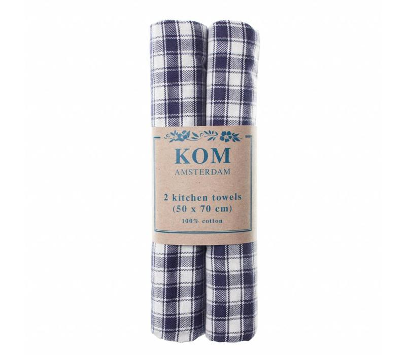 Campagne Set 2 Dish Towels 50x70 cm Check, Blue