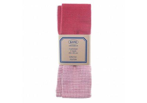 Kom Amsterdam Set of 2 Honeycomb Towels 50 X 50 cm Feston, Red