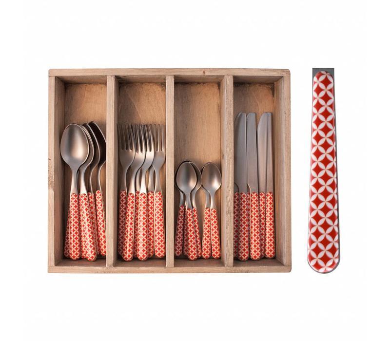 24-Stück Provence Rot Retro Besteck Set in Holzkiste