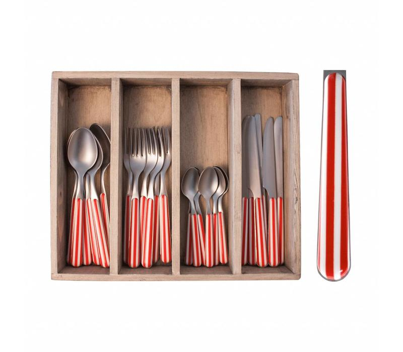 24-teiliges Provence Rot Stripe Besteck-Set in Holzkiste