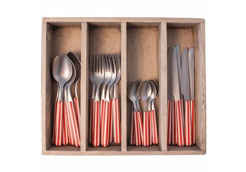 Kom Amsterdam 24-teiliges Provence Rot Stripe Besteck-Set in Holzkiste