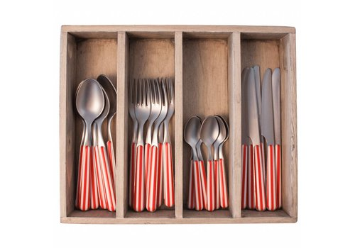 Kom Amsterdam Provence 24-piece Dinner Cutlery Set 'Stripe' in Cutlery Tray, Red