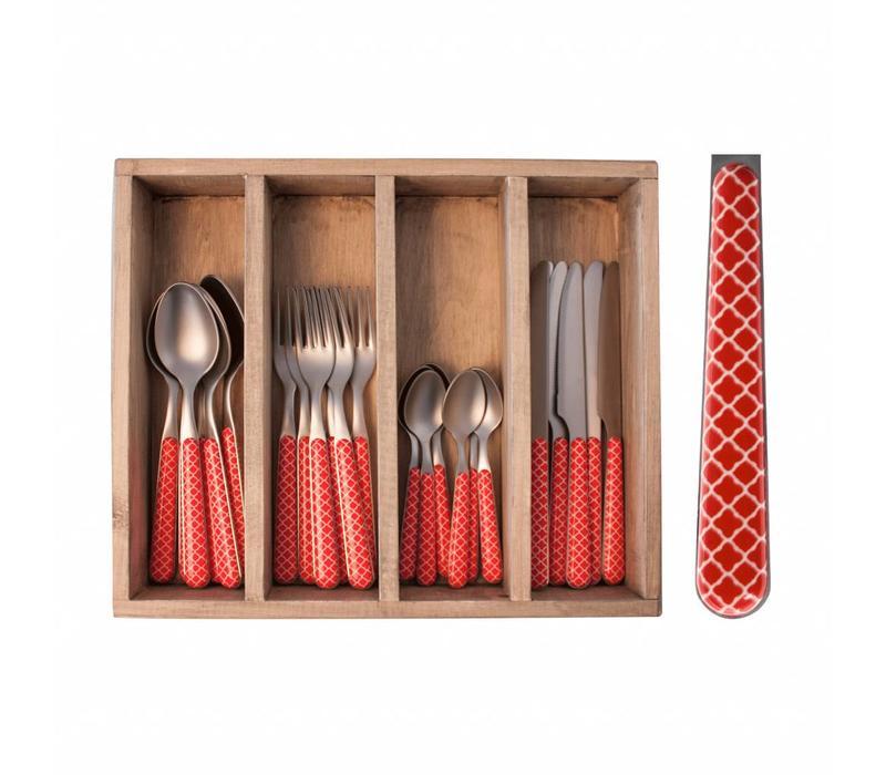 24-Stück Provence Rot Trellis Besteck Set in Holzkiste