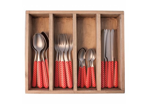 Kom Amsterdam Provence 24-piece Dinner Cutlery Set 'Trellis' in Cutlery Tray, Red