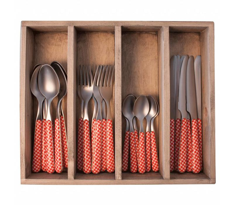 Provence 24-piece Dinner Cutlery Set 'Pied de Poule' in Cutlery Tray, Red