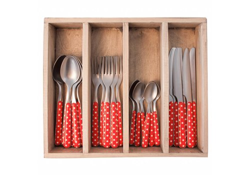 Kom Amsterdam Provence 24-piece Dinner Cutlery Set 'Dot' in Cutlery Tray, Red