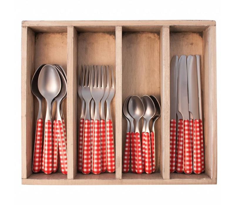 24 Stück Provence Rot Check Besteck Set in Holzkiste