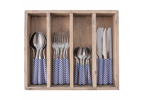 Kom Amsterdam Provence 24-piece Dinner Cutlery Set 'Retro' in Cutlery Tray, Blue