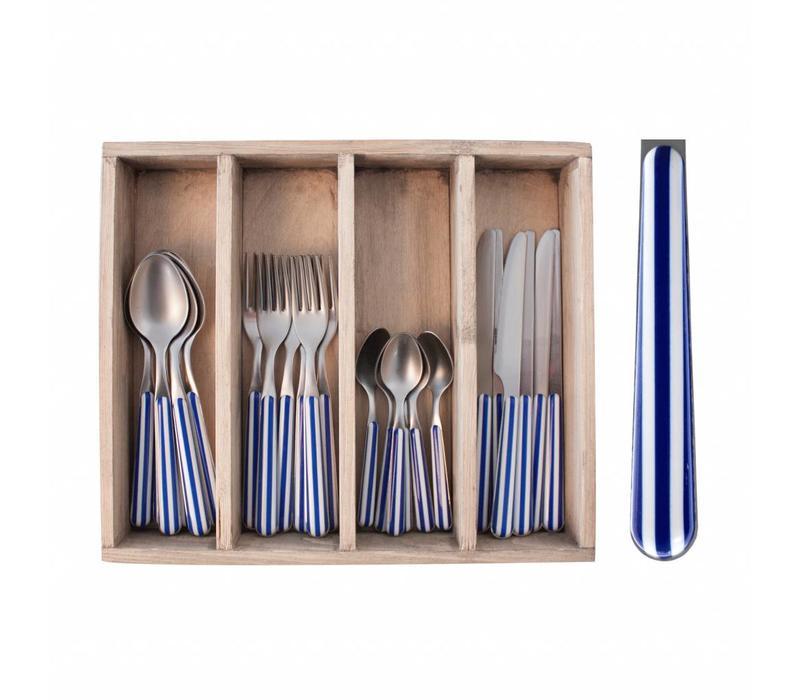 24-Stück Provence Blau Stripe Besteck Set in Holzkiste
