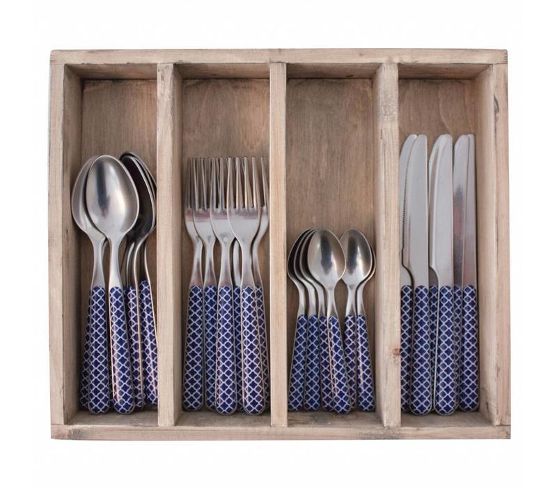 24-Stück Provence Blau Trellis Besteck Set in Holzkiste
