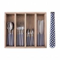 24-Stück Provence Blue Pied de Poule Besteck Set in Holzkiste