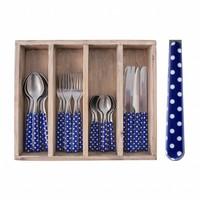 24-Stück Provence Blau Dot Besteck Set in Holzkiste