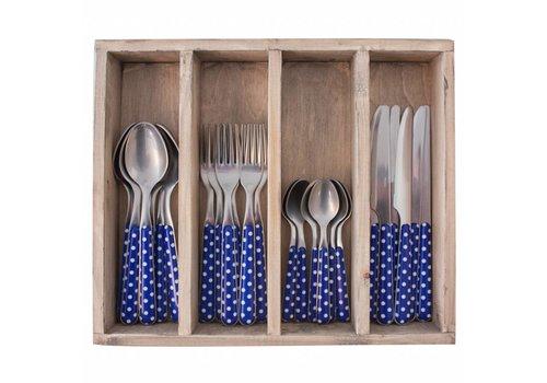 Kom Amsterdam Provence 24-delige Diner Bestekset in Houten Kist 'Stip', Blauw
