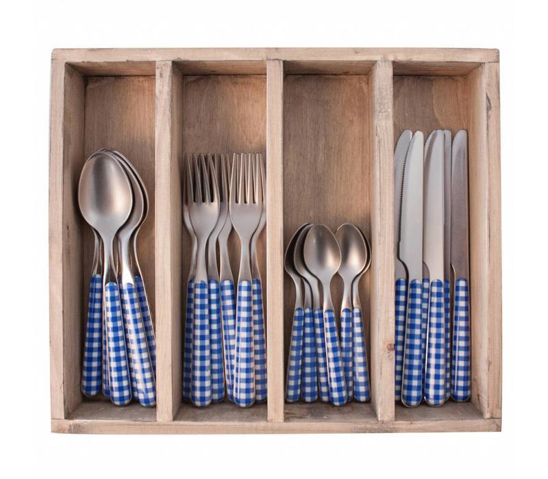 24-Stück Provence Blau Check Besteck Set in Holzkiste