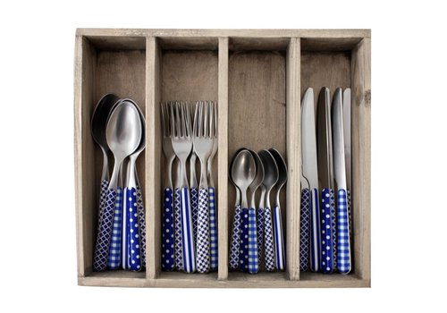 Kom Amsterdam Provence 24-piece Dinner Cutlery Set 'Mixed Designs' in Cutlery Tray, Blue